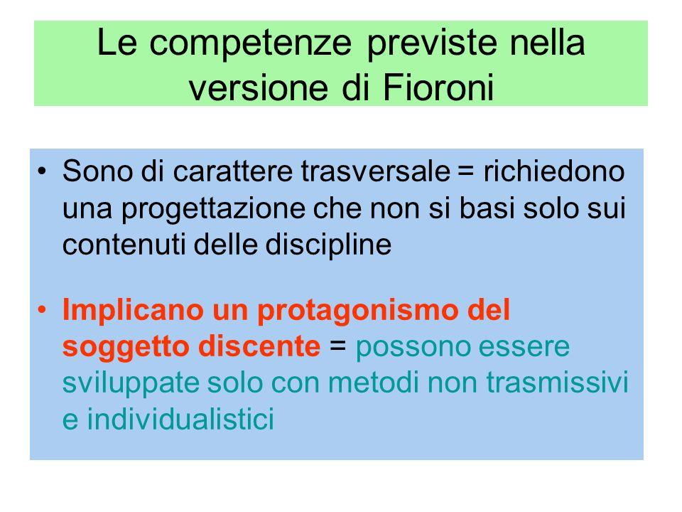Le competenze previste nella versione di Fioroni