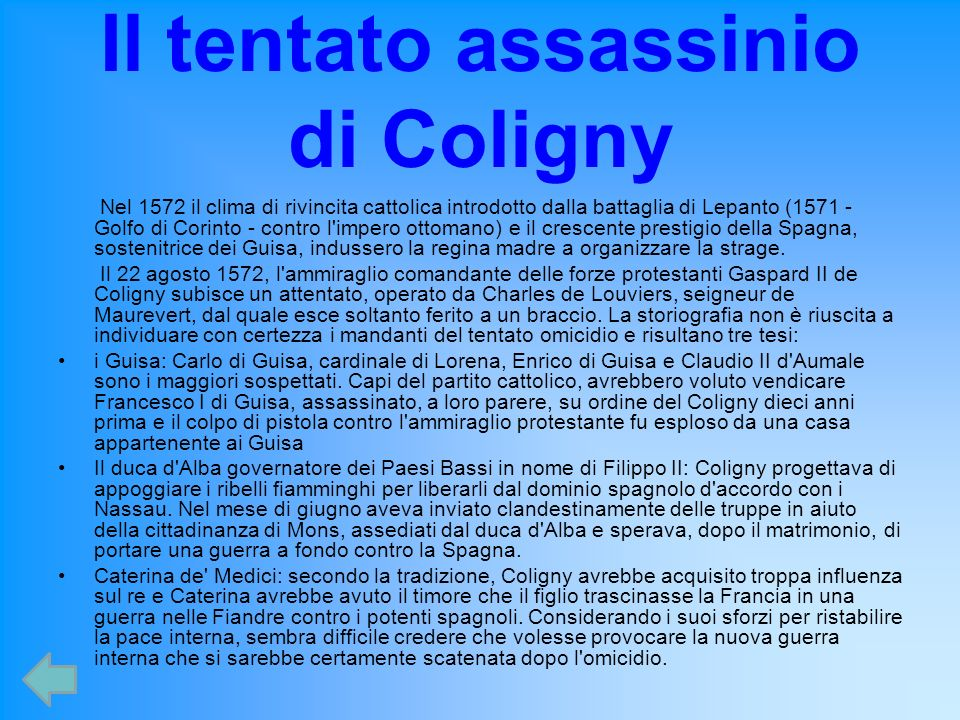Il tentato assassinio di Coligny