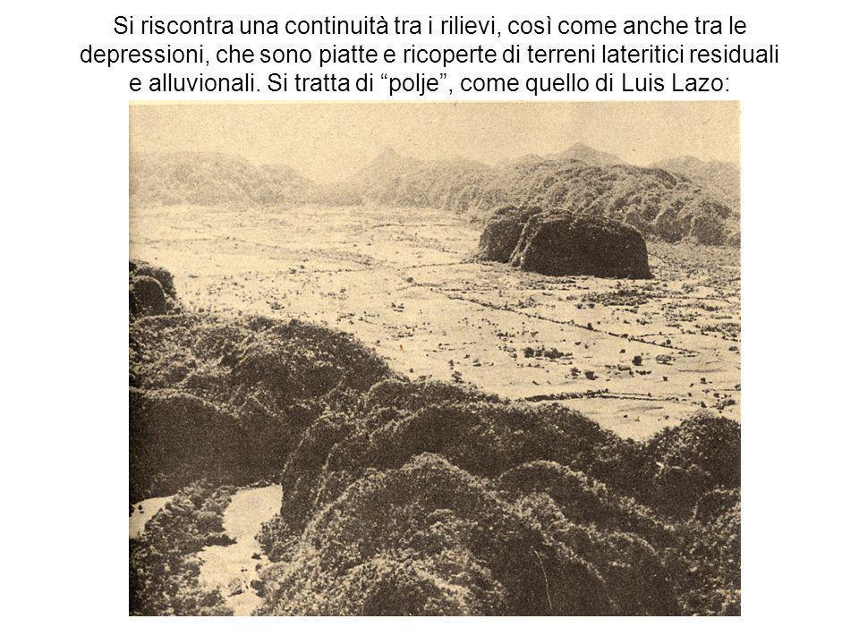 Si riscontra una continuità tra i rilievi, così come anche tra le depressioni, che sono piatte e ricoperte di terreni lateritici residuali e alluvionali.