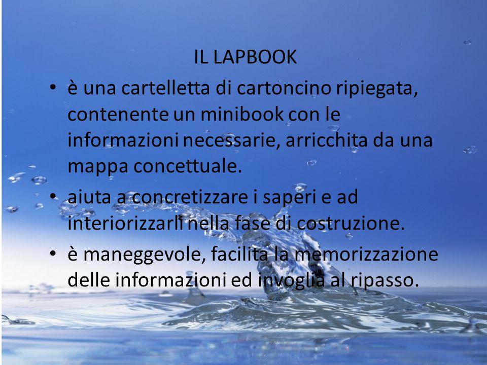 IL LAPBOOK è una cartelletta di cartoncino ripiegata, contenente un minibook con le informazioni necessarie, arricchita da una mappa concettuale.