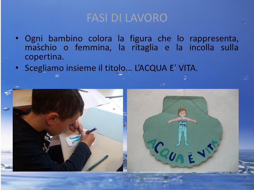 FASI DI LAVORO Ogni bambino colora la figura che lo rappresenta, maschio o femmina, la ritaglia e la incolla sulla copertina.