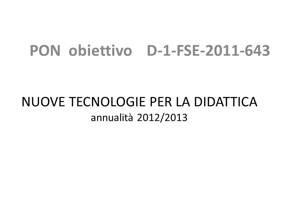 NUOVE TECNOLOGIE PER LA DIDATTICA annualità 2012/2013