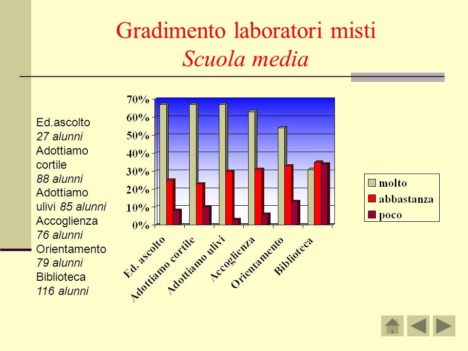 Gradimento laboratori misti Scuola media