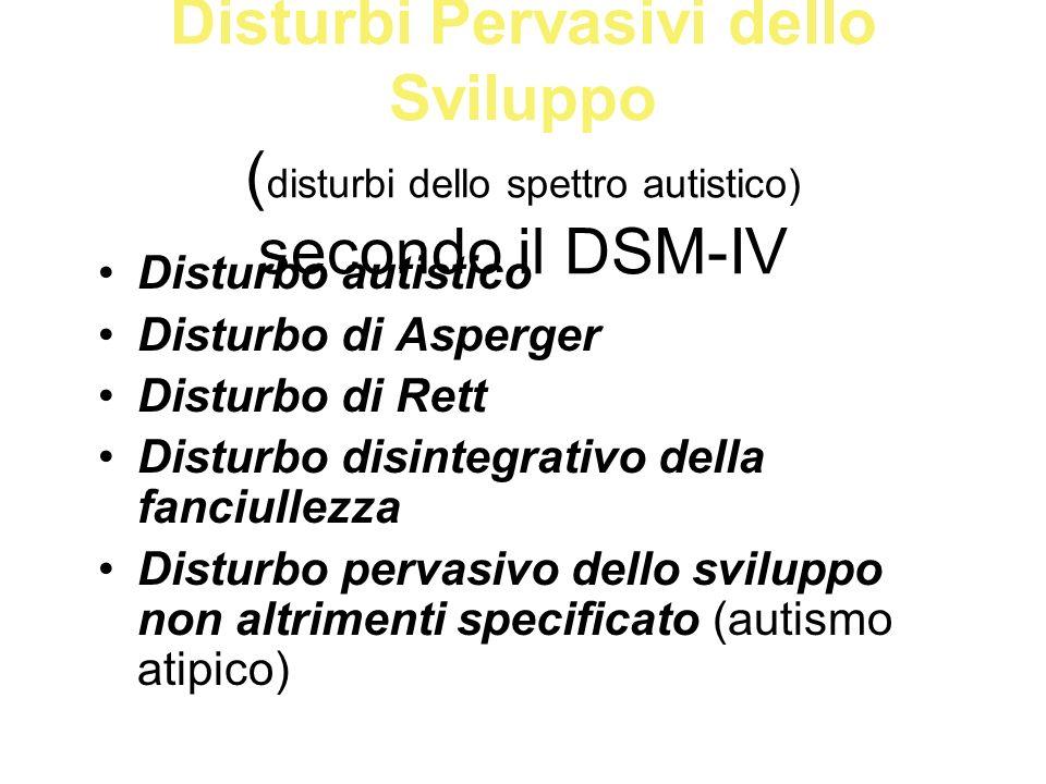 Disturbi Pervasivi dello Sviluppo (disturbi dello spettro autistico) secondo il DSM-IV