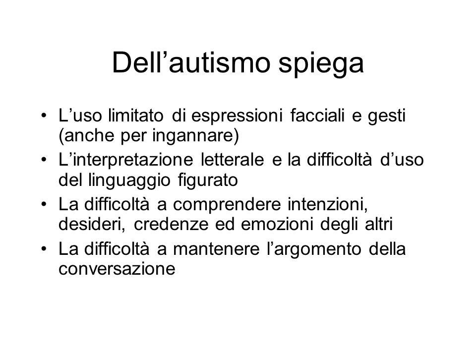 Dell'autismo spiega L'uso limitato di espressioni facciali e gesti (anche per ingannare)