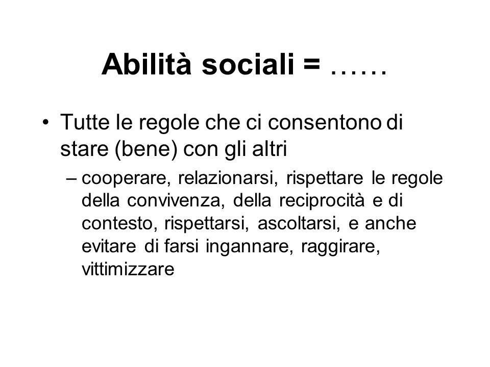 Abilità sociali = …… Tutte le regole che ci consentono di stare (bene) con gli altri.