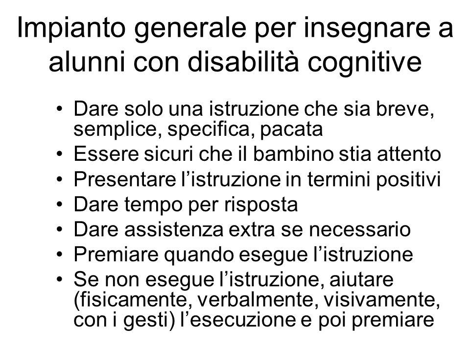 Impianto generale per insegnare a alunni con disabilità cognitive