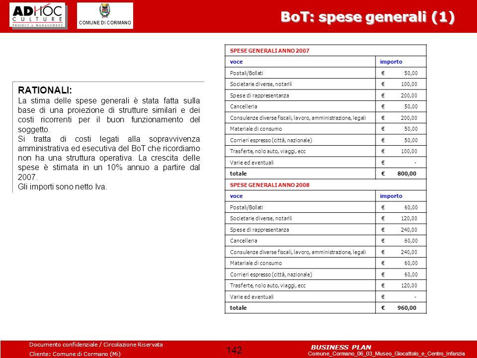 BoT: spese generali (1) RATIONALI: