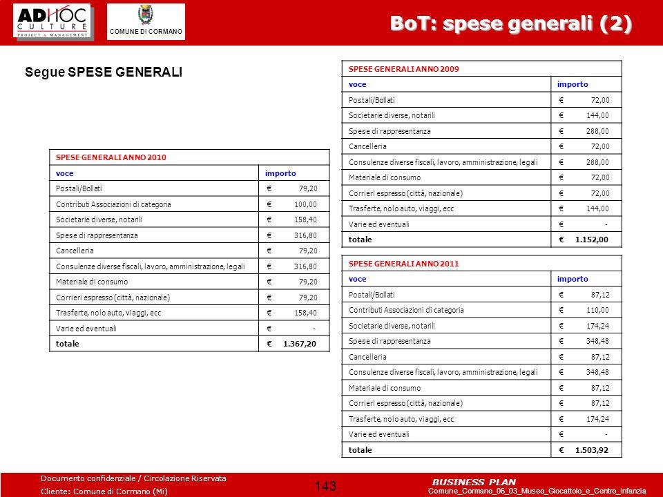 BoT: spese generali (2) Segue SPESE GENERALI SPESE GENERALI ANNO 2009