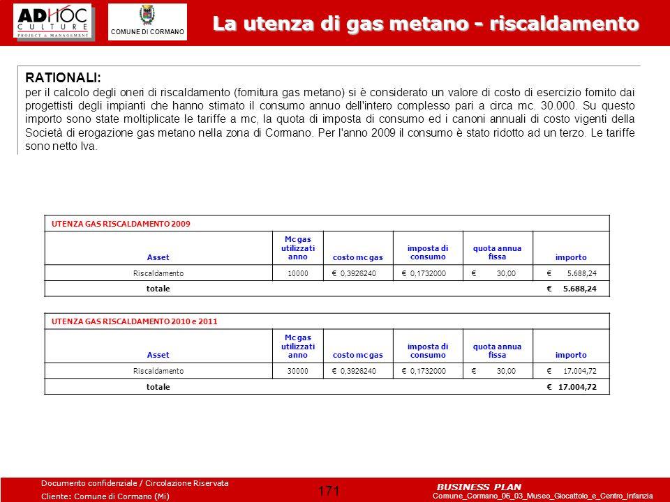 La utenza di gas metano - riscaldamento