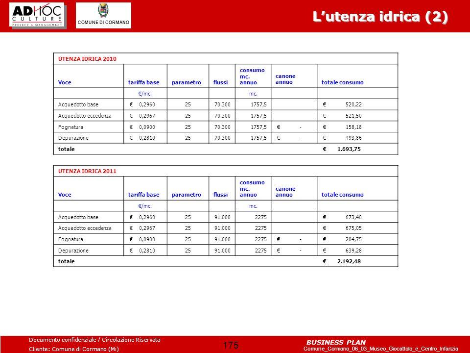 L'utenza idrica (2) UTENZA IDRICA 2010 Voce tariffa base parametro