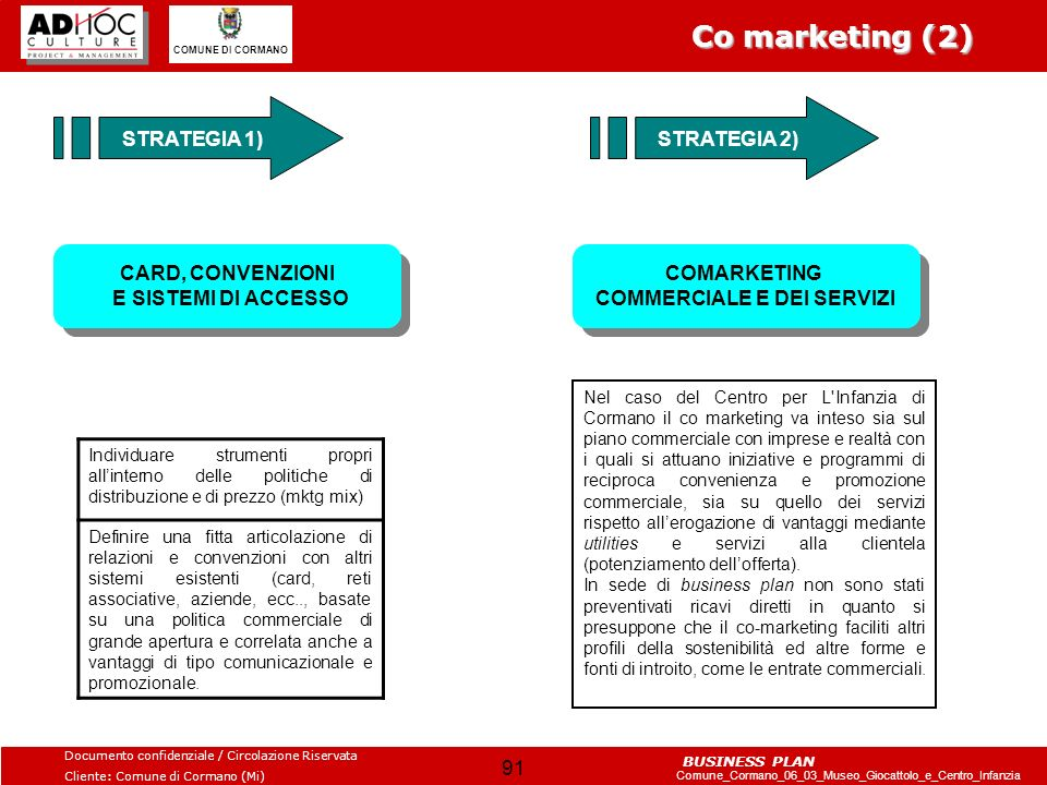 Co marketing (2) STRATEGIA 1) STRATEGIA 2)