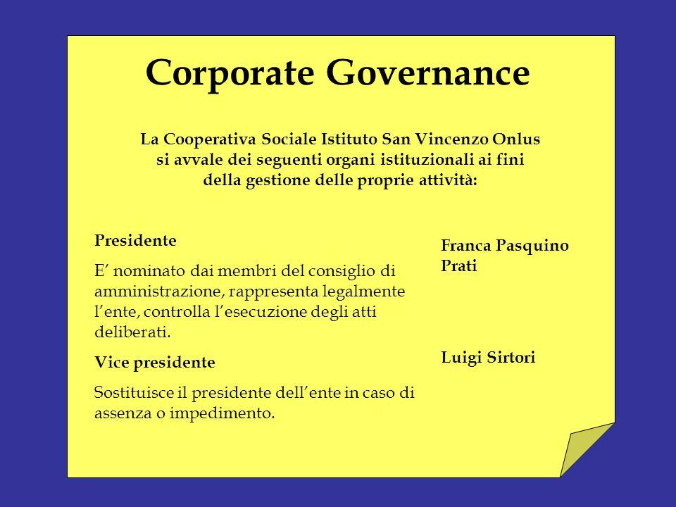 Corporate Governance La Cooperativa Sociale Istituto San Vincenzo Onlus. si avvale dei seguenti organi istituzionali ai fini.