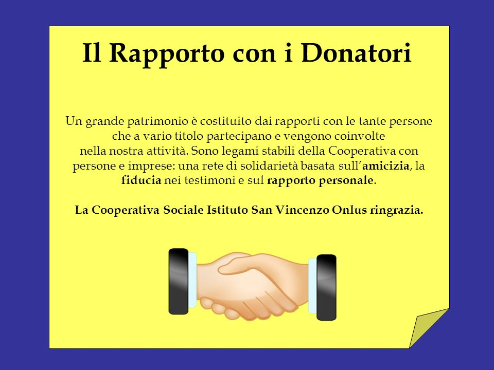 Il Rapporto con i Donatori
