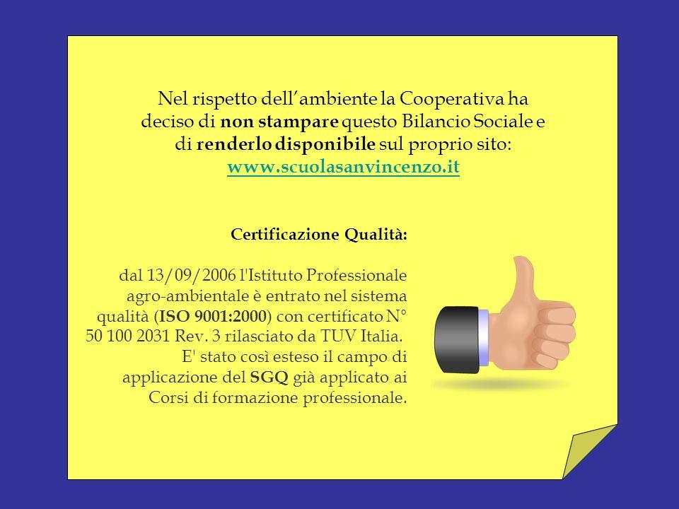 Nel rispetto dell'ambiente la Cooperativa ha deciso di non stampare questo Bilancio Sociale e di renderlo disponibile sul proprio sito: www.scuolasanvincenzo.it
