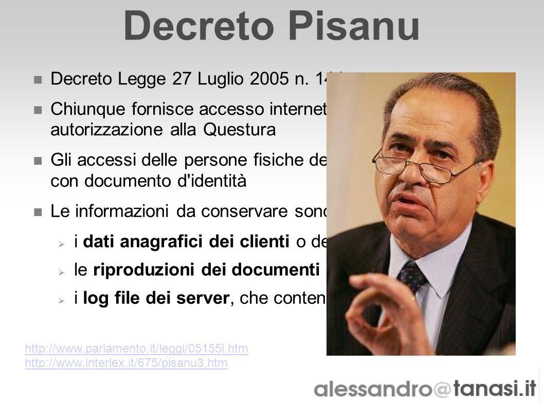 Decreto Pisanu Decreto Legge 27 Luglio 2005 n. 144