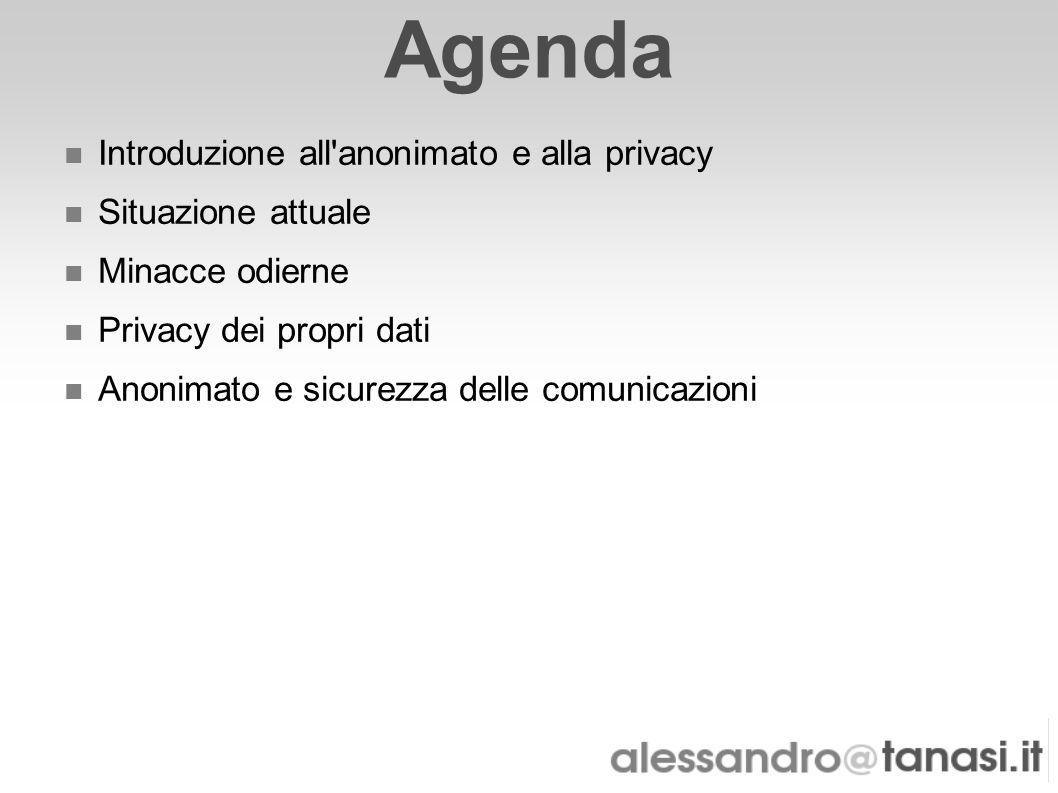 Agenda Introduzione all anonimato e alla privacy Situazione attuale