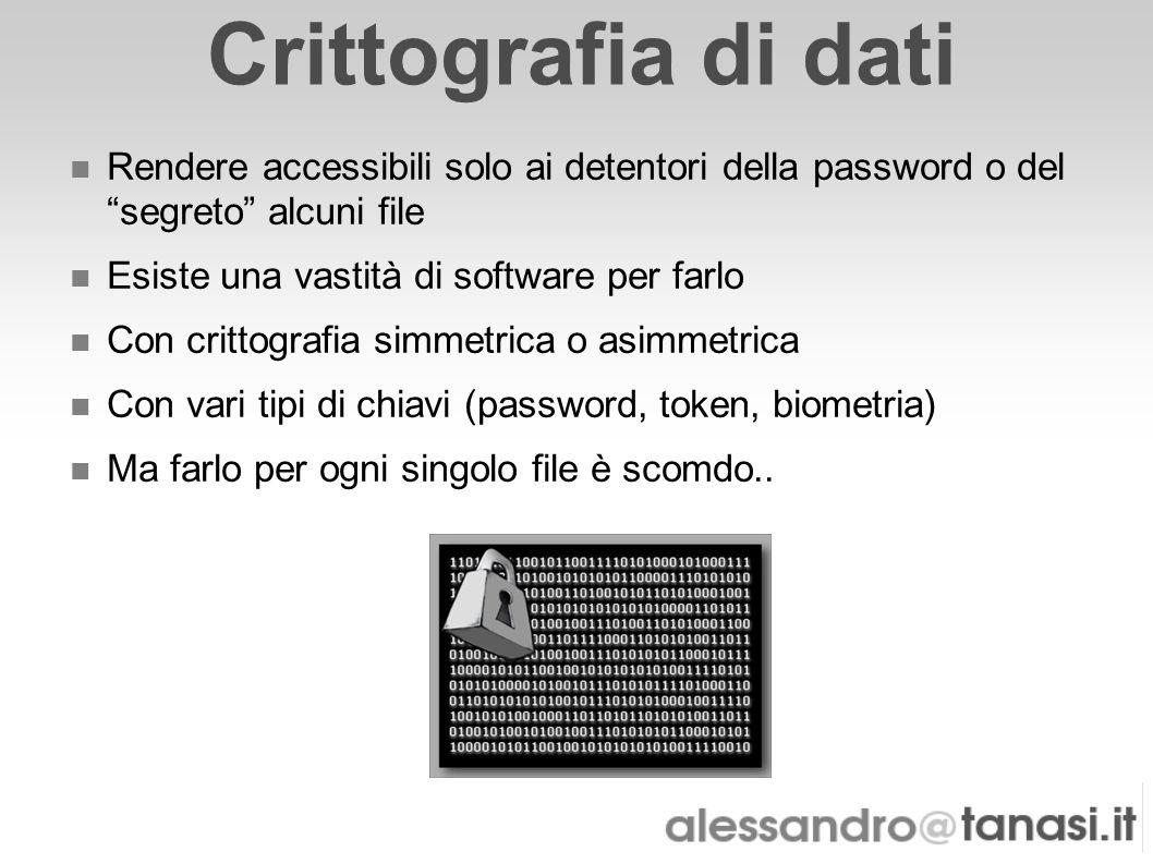 Crittografia di dati Rendere accessibili solo ai detentori della password o del segreto alcuni file.