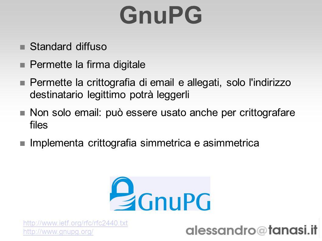 GnuPG Standard diffuso Permette la firma digitale