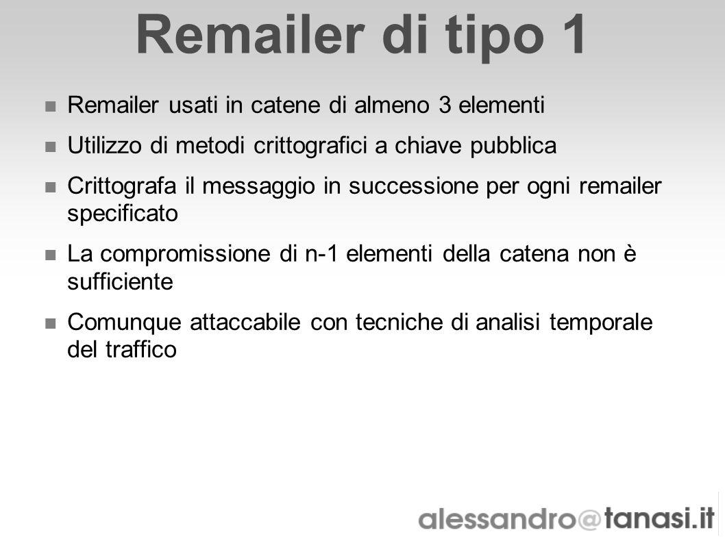 Remailer di tipo 1 Remailer usati in catene di almeno 3 elementi