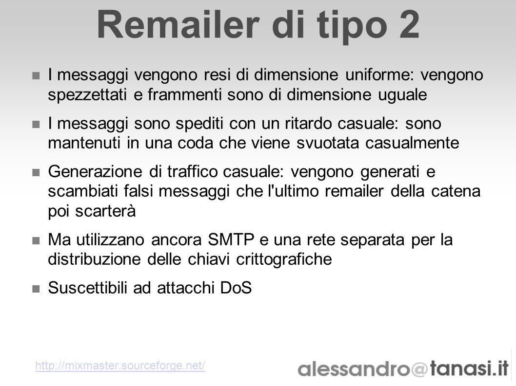 Remailer di tipo 2 I messaggi vengono resi di dimensione uniforme: vengono spezzettati e frammenti sono di dimensione uguale.