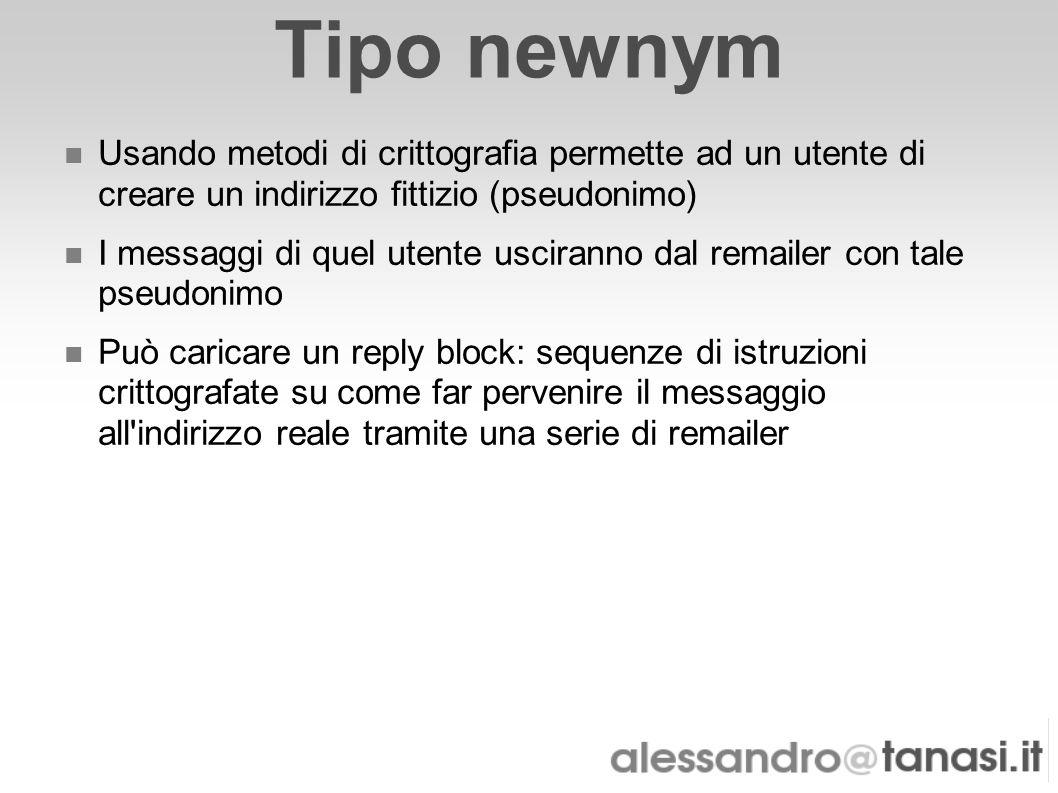 Tipo newnym Usando metodi di crittografia permette ad un utente di creare un indirizzo fittizio (pseudonimo)