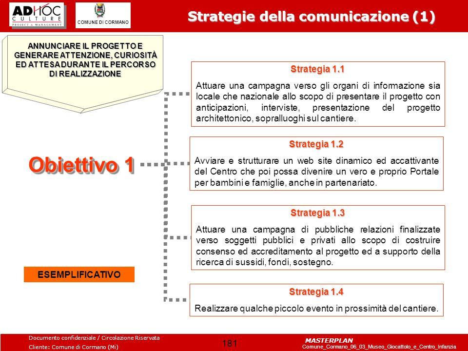 Obiettivo 1 Strategie della comunicazione (1) Strategia 1.1