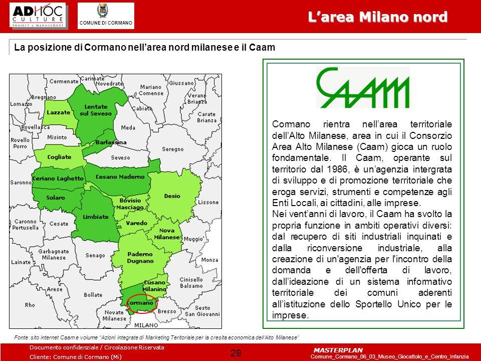 L'area Milano nord La posizione di Cormano nell'area nord milanese e il Caam.