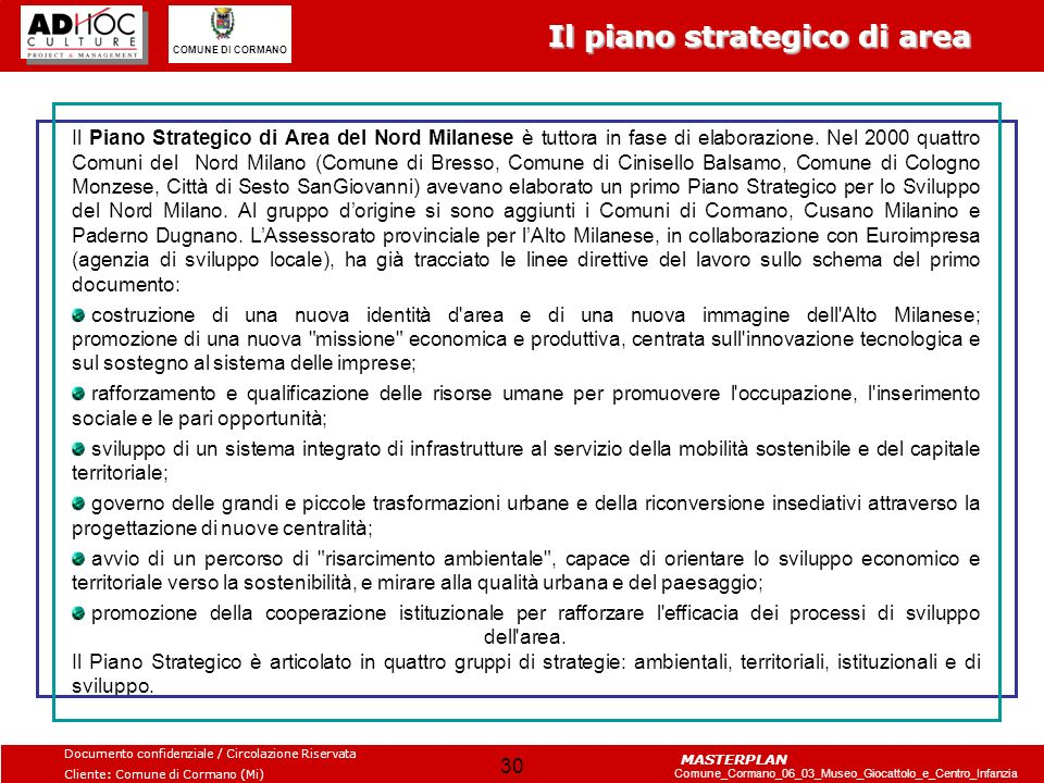 Il piano strategico di area