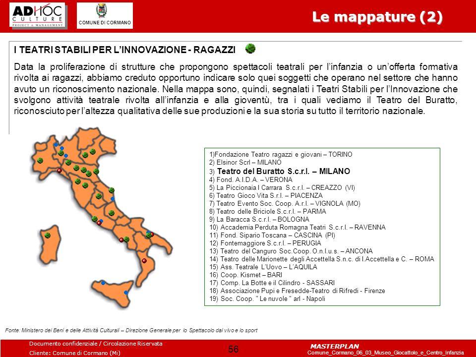 Le mappature (2) I TEATRI STABILI PER L'INNOVAZIONE - RAGAZZI