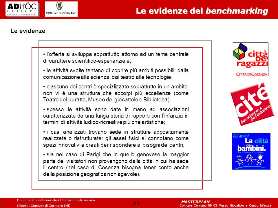 Le evidenze del benchmarking