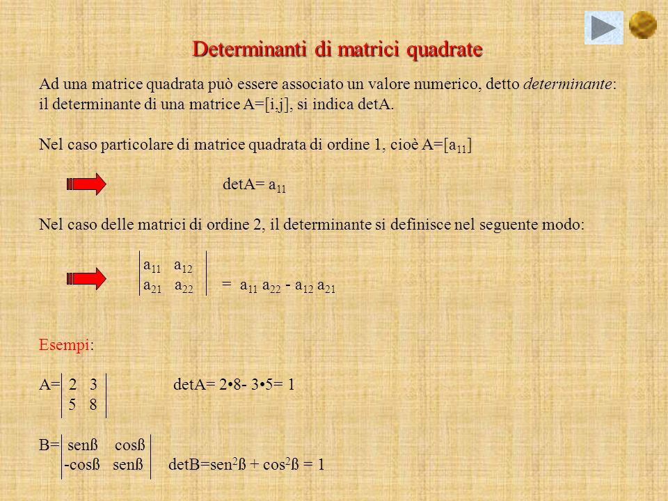 Determinanti di matrici quadrate