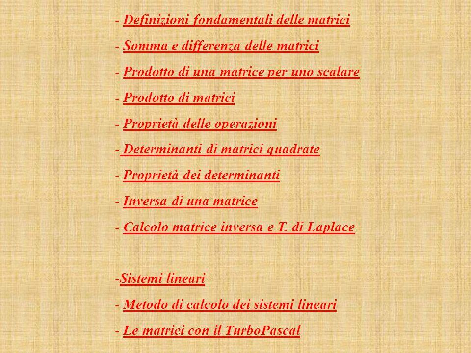 Definizioni fondamentali delle matrici