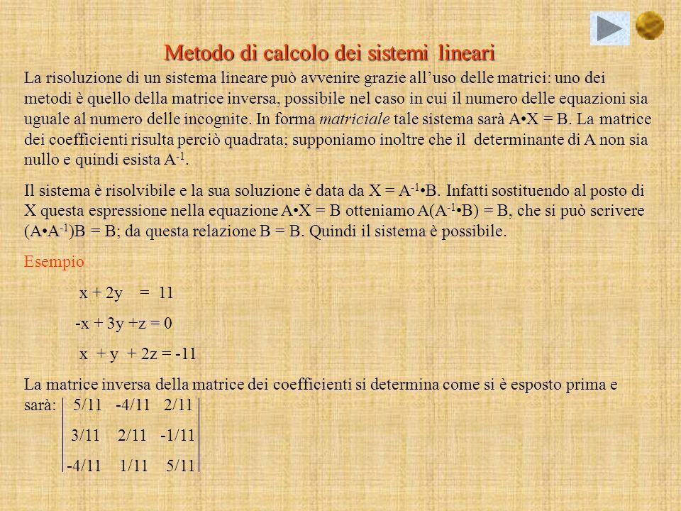 Metodo di calcolo dei sistemi lineari