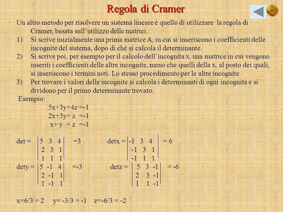 Regola di Cramer Un altro metodo per risolvere un sistema lineare è quello di utilizzare la regola di Cramer, basata sull'utilizzo delle matrici.