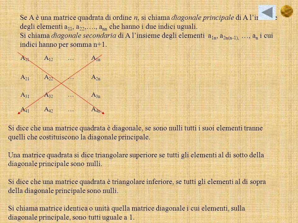 Se A è una matrice quadrata di ordine n, si chiama diagonale principale di A l'insieme degli elementi a11, a22,…., ann che hanno i due indici uguali.