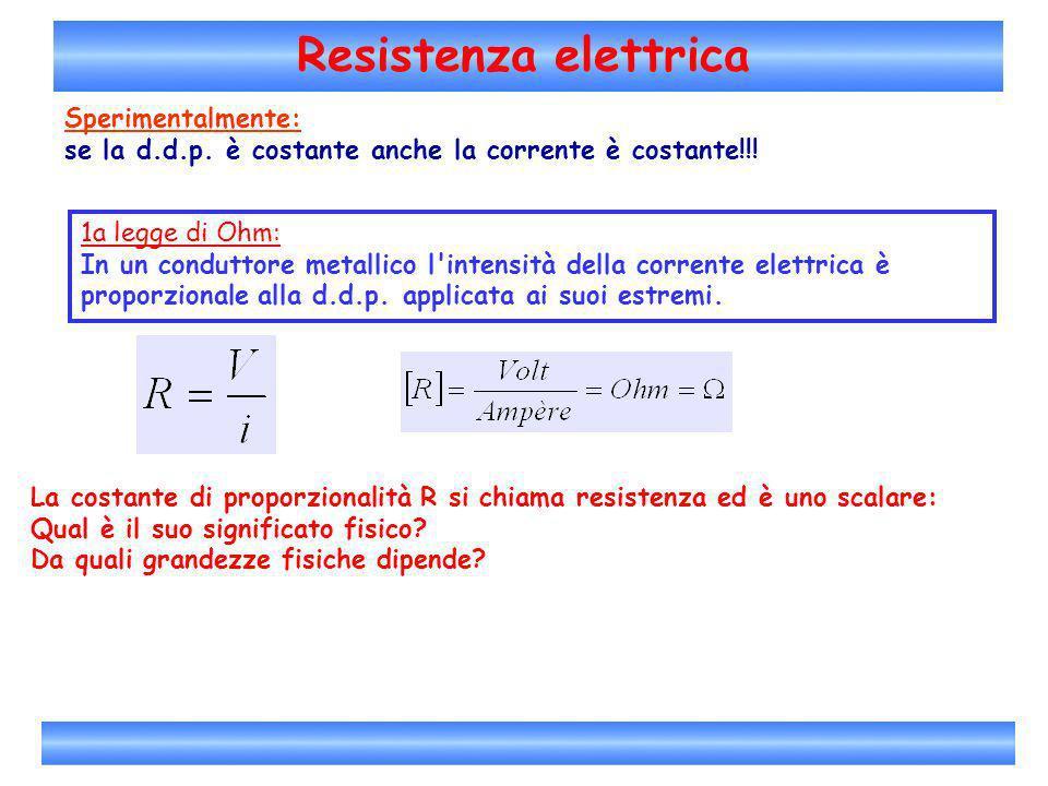 Resistenza elettrica Sperimentalmente: