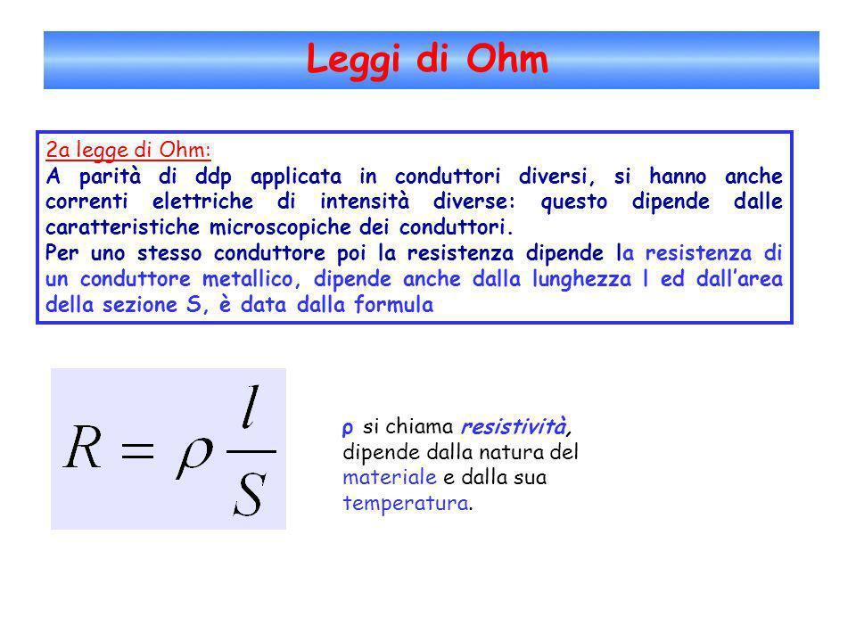 Leggi di Ohm 2a legge di Ohm: