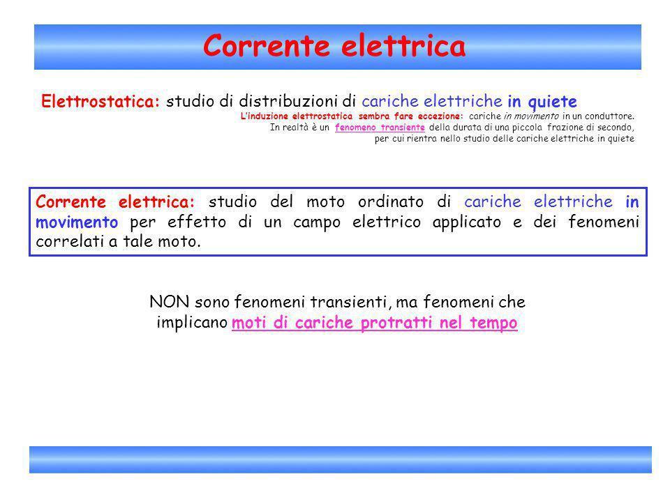 Corrente elettrica Elettrostatica: studio di distribuzioni di cariche elettriche in quiete.