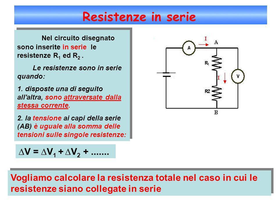 Resistenze in serie Nel circuito disegnato sono inserite in serie le resistenze R1 ed R2 .