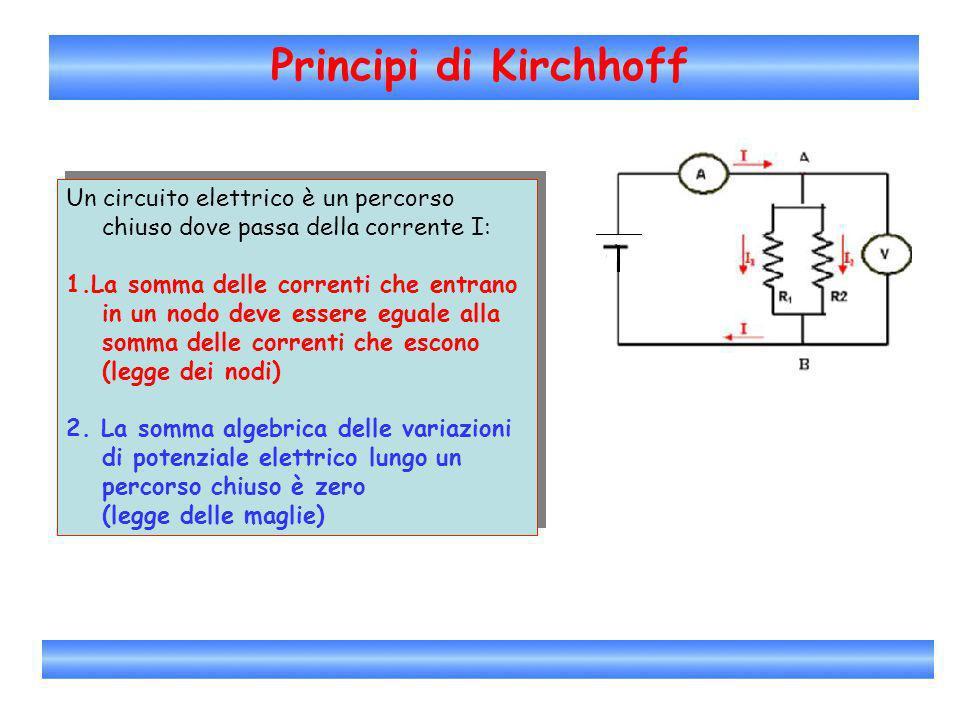Principi di Kirchhoff Un circuito elettrico è un percorso chiuso dove passa della corrente I: