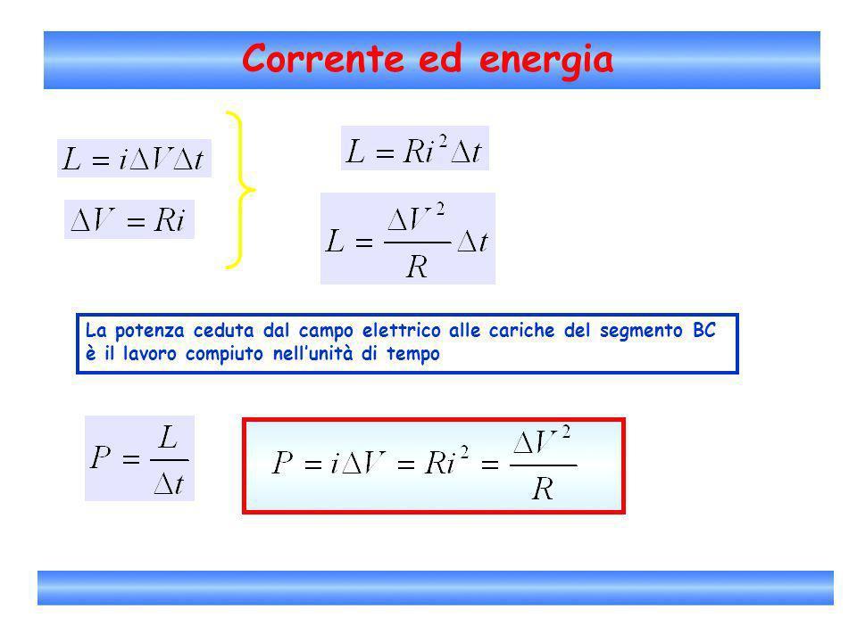 Corrente ed energiaLa potenza ceduta dal campo elettrico alle cariche del segmento BC.