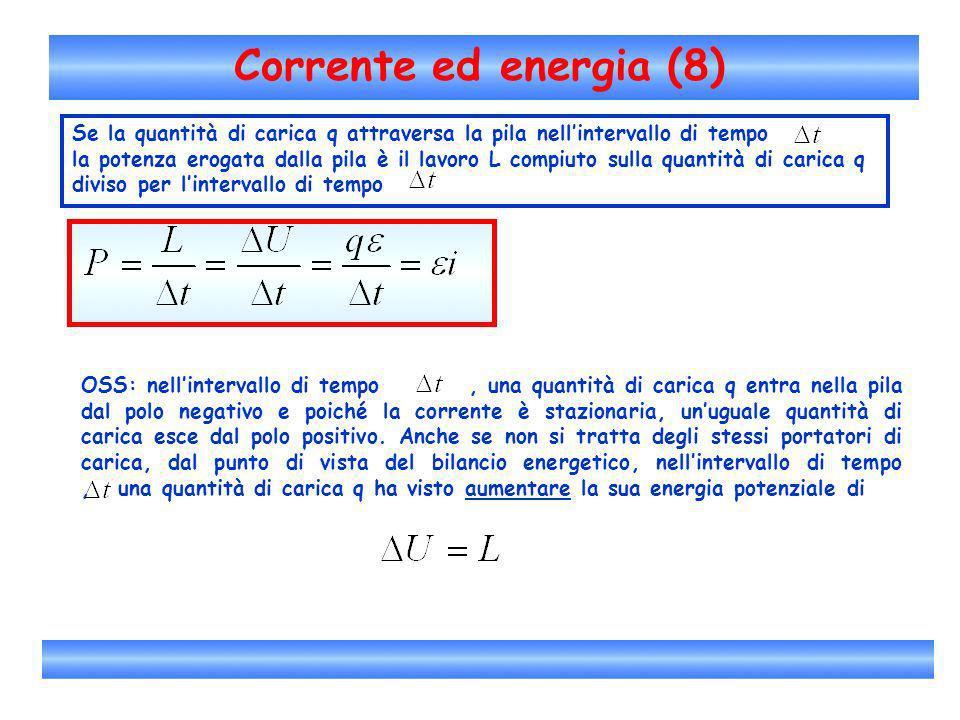 Corrente ed energia (8)Se la quantità di carica q attraversa la pila nell'intervallo di tempo.