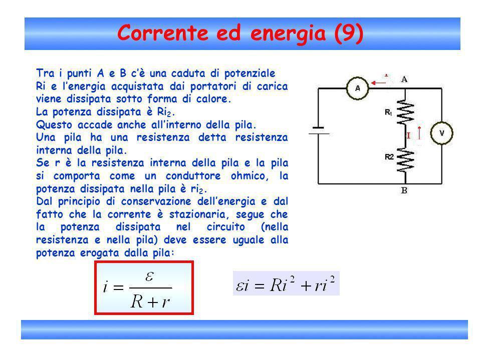 Corrente ed energia (9) Tra i punti A e B c'è una caduta di potenziale