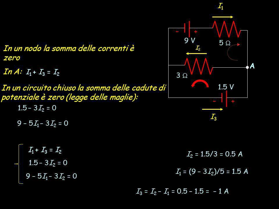 In un nodo la somma delle correnti è zero In A: I1 + I3 = I2