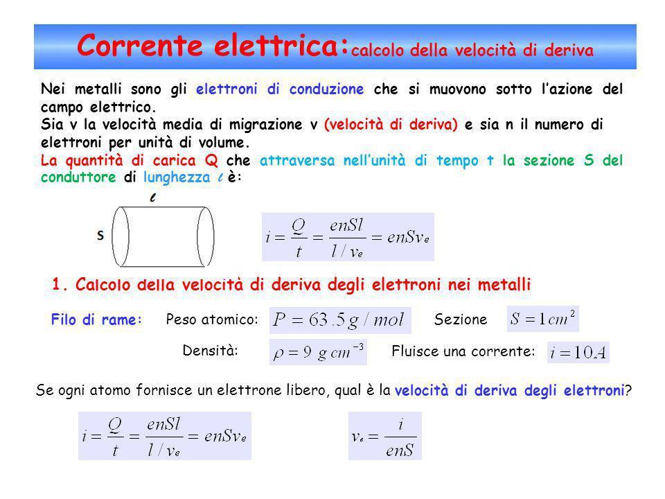 Corrente elettrica:calcolo della velocità di deriva