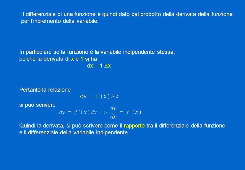 Il differenziale di una funzione è quindi dato dal prodotto della derivata della funzione