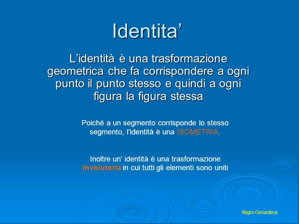 Identita' L'identità è una trasformazione geometrica che fa corrispondere a ogni punto il punto stesso e quindi a ogni figura la figura stessa.