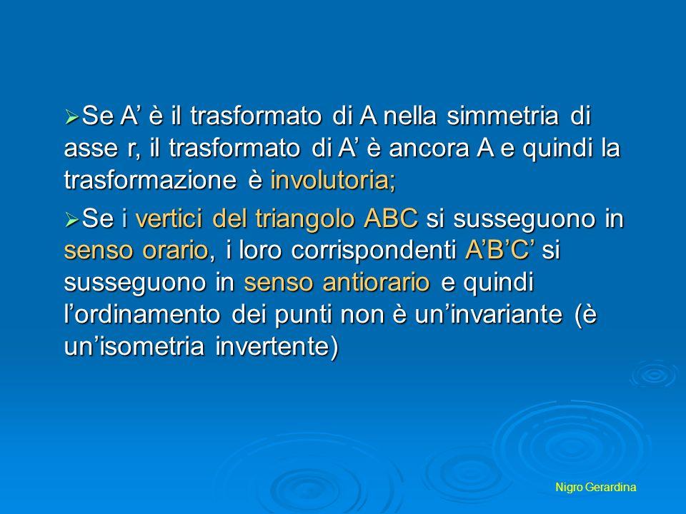 Se A' è il trasformato di A nella simmetria di asse r, il trasformato di A' è ancora A e quindi la trasformazione è involutoria;