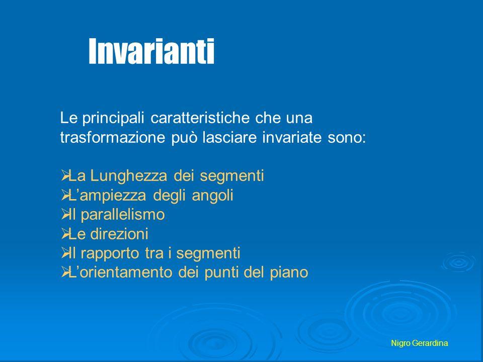 Invarianti Le principali caratteristiche che una trasformazione può lasciare invariate sono: La Lunghezza dei segmenti.